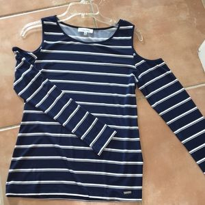 Navy blue and white striped cut out long sleeve